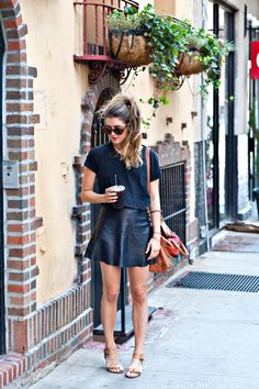 New York City Fashion and Personal Style Blog: Cotton cropped top, leather mini skirt, woven handbag, buckle sandals