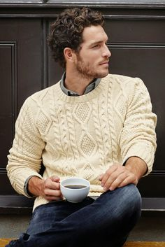 "We see the Classic crew neck cable in ivory, as casual elegance. It says, ""I'm relaxed. I have class. Come have a cuppa with me""."
