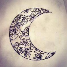 Moons moons moons moons #crescent #crescentmoon #crescentmoontattoo #floral #roses #moontattoo #moon