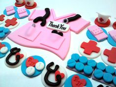 """Mini Nurse - Cup & Cake, 2 Dozen miniature cupcake toppers and 5"""" cake top on Etsy, $45.00"""
