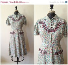 SALE 1940s Floral Cotton Day Dress with Ric by WomenInLoveVintage, $48.00