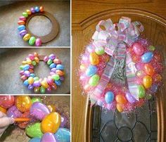 DIY Easter Egg wreath. So adorable! Some Easter grass, a big Easter bow, and you're set!