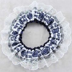 Penn State Nittany Lions Navy Blue and White Garter with Lace