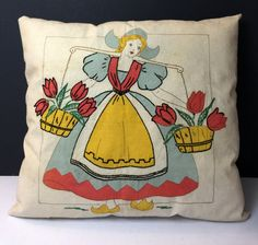 Vintage Embroidered Accent Pillow Dutch Girl by TGALCOLLECTIBLES