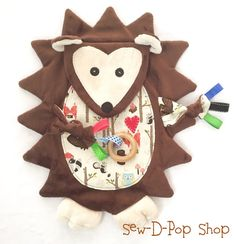 Hedgehog Baby Minky Blanket Crinkle Toy Pacifier Clip Tag Buddy