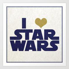I Love Star Wars Art Print by Juan Martos - $14.56