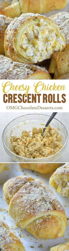 Cheesy Chicken Crescent Dinner Rolls is quick and easy recipe and perfect meal for weeknight dinner, lunch, snack or appetizer for a party. (Italian Recipes For Dinner) Crescent Rolls, Crescent Roll Recipes, Turkey Recipes, Chicken Recipes, Chicken Marinades, Rotisserie Chicken, Appetizer Recipes, Appetizers, Dinner Recipes