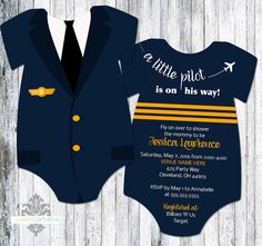 Airplane Baby Shower Invitation  Onesie Shaped by SweetCartolina                                                                                                                                                     More