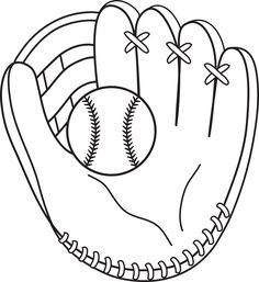Baseball and Mitt Line Art