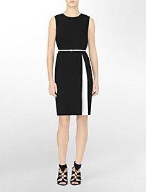 contrasting slit sleeveless belted dress- CKlein $99.50