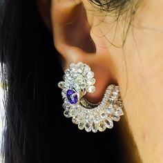 """Sapphire and Briolette diamond earrings from @marawella our wonderful host during our stay in #Bahrain for #JewelleryArabia2015! #JewelleryArabia #Luxury…"""