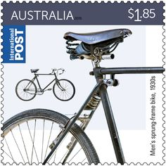 The Bicycles stamp issue focuses on bike design from the late 19th century to 2015, with each bike shown manufactured in Australia.  Title: $1.85 Men's sprung-frame bike Released: 13 October 2015 Denominations: 2 x 70c, 1 x $1.85, 1 x $2.75 Stamp design: Sean Pethick Stamp size: 35mm x 35mm Postmark: Ryde, NSW 2112 The men's bike in the $1.85 stamp was made by Melbourne-based Finlay Bros. #StampCollecting, #AustralianStamps, #Philatelic, #Philately.