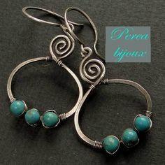 boucles d'oreilles argent 925/1000 .... avec trois turquoises : Boucles d'oreille par perea-bijoux