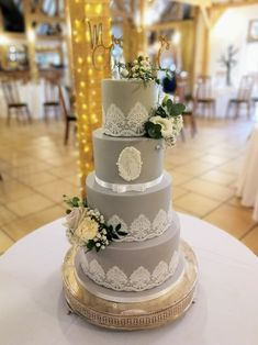 Beautiful modern dove grey wedding cake with white edible sugar lace and custom made monogram Sugar Lace, Beautiful Wedding Cakes, Gray Weddings, Dove Grey, Wedding Cake Designs, Celebration Cakes, Yummy Cakes, Special Day, Monogram