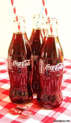 coca cola bottles and stripey straws www.amadoloves.com