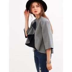 SheIn(sheinside) Grey Knotted Collar Kimono Sleeve Double Face Coat (€22) via Polyvore featuring outerwear, coats, short white coat, collarless coat, white coat, white collarless coat en reversible coat
