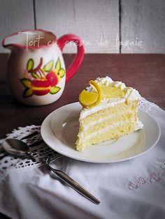 cake with lemon cream Tasty, Yummy Food, Lemon Cream, Pudding, Vanilla Cake, Deserts, Dessert Recipes, Cakes, Baking