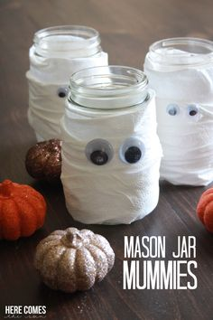 Mason Jar Mummies add a spooky touch to your Halloween party.