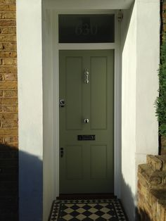 My front door color of the week is Farrow & Ball Lichen. Victorian Front Doors, Victorian Porch, Front Door Farrow And Ball, Front Door Colors, Front Entrances, Farrow Ball, Back Doors, Painted Doors, Interior And Exterior