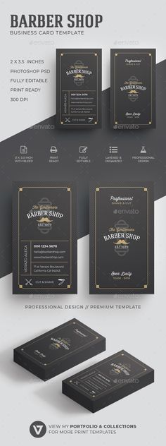 Barber Business Card Template Cards Psd