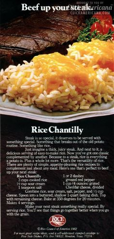 """Steak is so special it deserves to be served with something special. Something that breaks out of the old potato routine. Something like rice."" Ready-boiled rice and processed cheese. Striking. // Vintage food ad"