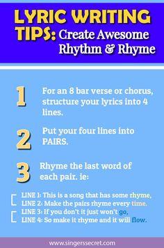 Watch the full tutorial on lyric writing here: http://singerssecret.com/create-awesome-rhythm-rhyme/  #lyrics #songwriting #music