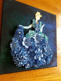 Your place to buy and sell all things handmade Paper Flower Art, Giant Paper Flowers, Flower Crafts, Paper Quilling Designs, Quilling Paper Craft, Paper Crafts, Blue Canvas Art, Diy Canvas Art, Button Art