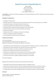Sample Purchasing Specialist Resume  Resame