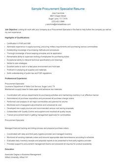 sample procurement specialist resume - Warehouse Specialist Resume