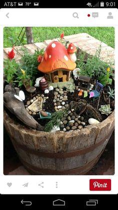 Barrell fairy garden