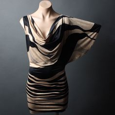 black and beige dresses | Beige Black Stripe One Shoulder Batwing Cowl Neck Clubwear Mini Dress ...