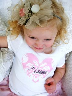 Je T'aime, Daddy's Girl, or ANY Name Baby Girl Personalized Gift Mother's Day Heart Onesie or T-Shirt.  French Style Tee Chic Paris Love