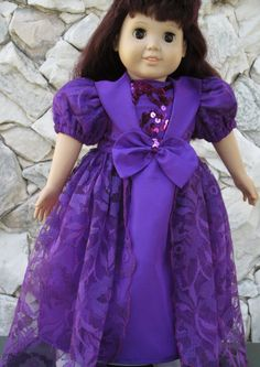 Redviolet taffeta and lace gown for an 18 doll. by TinaDollDesigns, $28.00