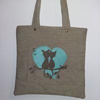 bag, cross stitch, cat, love