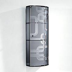 HOMCOM Glass Cabinet With Mirror Back, 3 Display Storage Shelves Wall  Mounted Indoor Bathroom Cupboard
