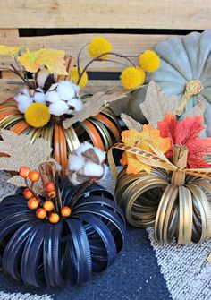 """DIY Mason Jar Lid Pumpkins are Simple Fall Decor Crafts You can Make at Home! These are technically not Mason Jar Lid Pumpkins, they are actually Mason Jar Band Pumpkins…but saying """"lids"""" just makes more sense in the title. Mason Jar Lids, Painted Mason Jars, Mason Jar Crafts, Jar Lid Crafts, Canning Lids, Diy Home Decor Projects, Diy Projects To Try, Decor Crafts, Diy Crafts"""
