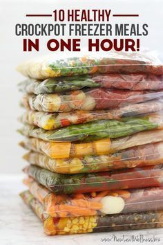 10 Healthy Crockpot Freezer Meals In 1 Hour (free recipes and grocery list) Healthy Crockpot Freezer Meals, Freezer To Crockpot Meals, Healthy Meals To Freeze, Crock Pot Dump Meals, Freezable Recipes, Chicken Freezer Meals, Freezer Friendly Meals, Budget Freezer Meals, Freezer Recipes