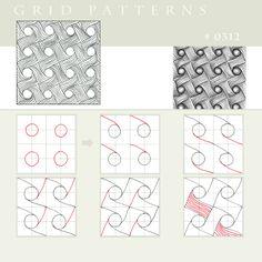 Grid pattern-Pattern 0312 by Julianna Kunstler | Zentangle