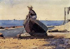 "Winslow Homer, ""Waiting for Dad"""