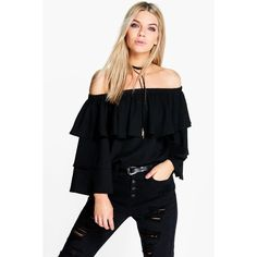 Boohoo Becca Woven Frill Sleeve Off The Shoulder Top ($30) ❤ liked on Polyvore featuring tops, black, long sleeve tops, crew neck crop top, high neck crop top, flutter sleeve top and long sleeve crop top