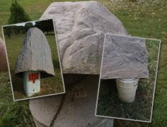 Great info on sizing fake rocks and artificial rocks for hiding septic covers, vents, electrical boxes and more.