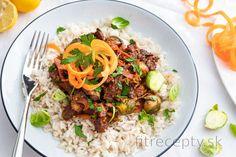 Fit hovädzie s ružičkovým kelom a mrkvou Tofu, Smoothie, Low Carb, Beef, Ethnic Recipes, Meat, Smoothies, Steak