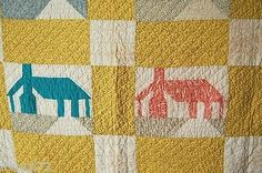 CHEERY-Vintage-30-039-s-Honeymoon-Cottage-House-Patchwork-Antique-Quilt-Nice-Yellow