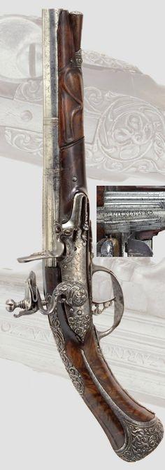 A flintlock pistol, Giovanni Battista Bergonze Brescia, ca 1670.