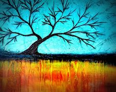 Abstract Naked Tree Textured Painting by Louisiana Artist Derek Patterson