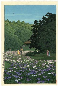 Artist Name: Hasui Kawase (1883 - 1957) Title: Iris Garden at Meiji Shrine, Tokyo Year: (1951) Medium: Japanese woodblock print