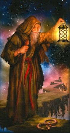 The Hermit by Ciro Marchetti (Gilded Tarot Royale) The Hermit Tarot, Tarot Cards Major Arcana, The Magician Tarot, Wicca, Online Tarot, Tarot Card Decks, Steampunk, Oracle Cards, Figure Drawing