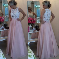 Buy Elegant Long Prom Dress - Blush O-Neck A-Line with Lace Long Prom Dresses under $149.99 only in Dressywomen.