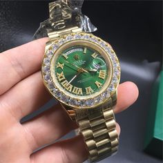 check out Gold Rolex Day Da... at http://www.benzinoosales.com/products/gold-rolex-day-date-iced-out-bezel-green-dial-watch?utm_campaign=social_autopilot&utm_source=pin&utm_medium=pin plus 10% OFF nd #FREESHIPPING #assc #yeezyboost #offwhite #summer #cool #kyliejenner