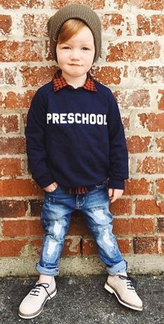Preschool Pullover Sweatshirt by Hatch For Kids Back to school with Animal House, for kids. Toddler Boy Fashion, Little Boy Fashion, Toddler Boys, Kids Boys, Kids Fashion, Outfits Niños, Baby Boy Outfits, Kids Outfits, Baby Pullover